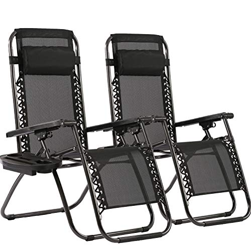 Zero Gravity Chairs Set of 2 Patio Adjustable Reclining Folding Chairs w Pillow BestMassage