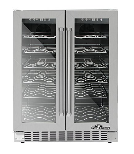 Thorkitchen Jc 116A2eq 36 Bottle 24  Built In   Free Standing Dual Zone Wine Cooler  Stainless Steel