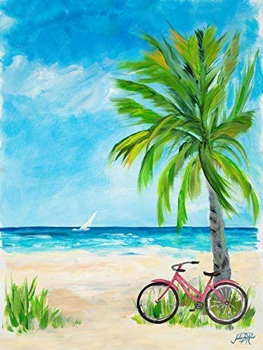 Rahmen-Kunst Imagen – Julie Derice: Ride To Paradise Foto en Lienzo Bicicleta Playa Palmeras Vacaciones - 100x130 ...
