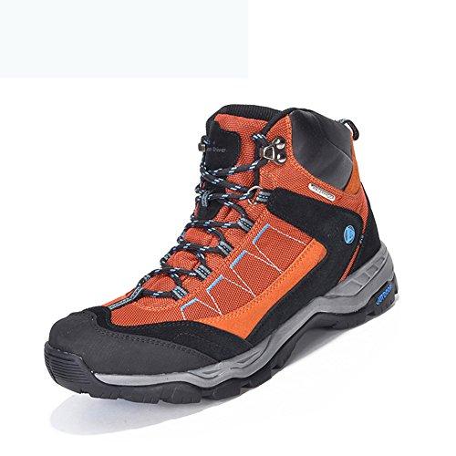 GOMNEAR Men's Waterproof Shoes High Top Hiking Boots Trekking Non Slip Breathable Walking Climbing Sneakers Orange-44