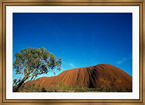 - Rock Formation on a Landscape, Ayers Rock, Uluru-Kata Tjuta National Park, Northern Territory, Australia Framed Art Print Wall Picture, Wide Gold Frame, 49 x 35 inches