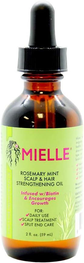 Aceite para el fortalecimiento del cabello y el cuero cabelludo de menta y romero de Mielle, favorece un crecimiento saludable del cabello, 59 ml