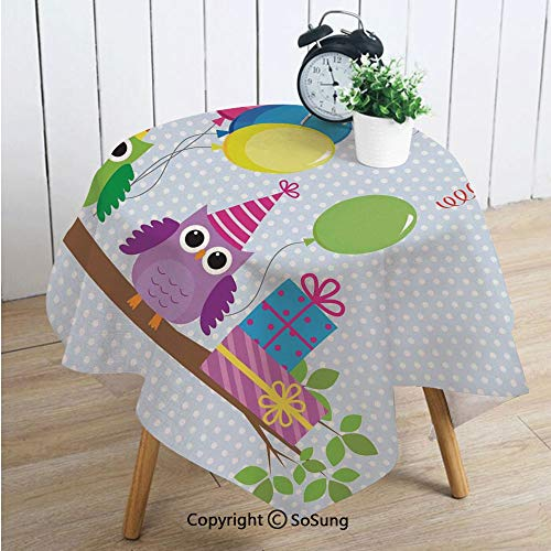 Birthday Decorations for Kids Square Polyester Tablecloth,Cartoon Owls at a Party with Flags Boxes Polka Dot Backdrop,Dining Room Kitchen Square Table Cover,54W X 54L inches,Baby Blue