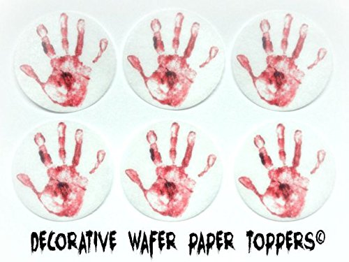 """24 HALLOWEEN Bloody Hand Print Decorative Wafer Paper Toppers © CUPCAKE TOPPERS SMALL 1.5"""" Diameter Size"""
