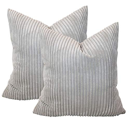 Sykting Decorative Pillow Covers Striped Corduroy Plush Textured Throw Pillow Cases for Couch Sofa Bed Pack of 2 18 x 18 inch 45 x 45cm Light Grey (Textured Throw Pillow Grey)