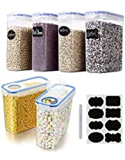 Cereal & Dry Food Storage Containers, VALUXE Airtight Plastic Kitchen Storage Organizer, Set of 6 [2.5L / 85.4oz] for Sugar, Flour, Snack, Baking Supplies, BPA Free Stackable Boxes with Locking Lids