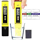 Deronweer Digital PH Meter, PH Test water 0.01 PH High Accuracy Water Quality Tester with 0-14 PH Measurement Range for Household Drinking, Pool and Aquarium Water PH Tester Design with ATC (Yellow)