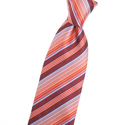 Extra Long Carmine, Maroon, Electric Crimson, and Flame red ties with tiny Cerulean blue stripes - by Jon (Electric Blue Long Tie)