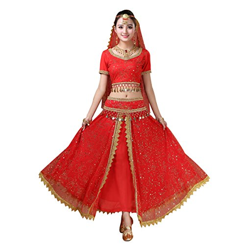 Women's Belly Dance Chiffon Bollywood Costume Indian Dance Outfit Halloween Costumes with Coins 5 Pieces Sets(Red, Medium)