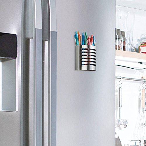 mDesign Portalápices metálico para material de oficina - Organizador de escritorio autoadhesivo para bolígrafos, lapiceros, notas, etc.