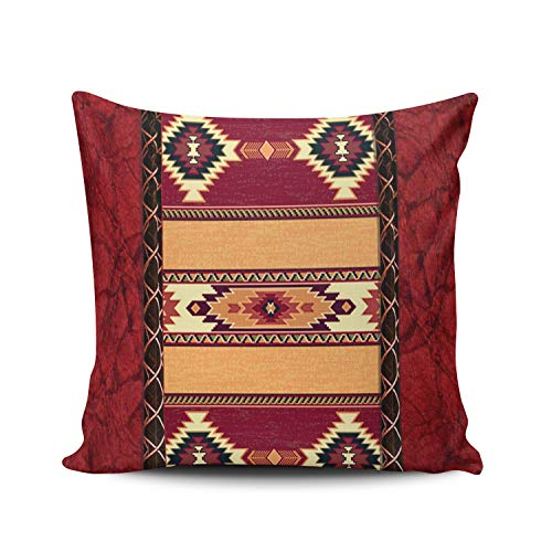 - MUKPU Fashion Home Decoration Design Throw Pillow Case Red County South Western Tribal Print 18X18 Inch Square Custom Pillowcase Cushion Cover Double Sided Printed (Set of 1)