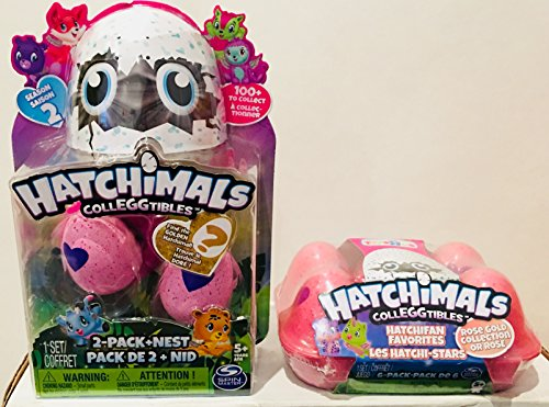 Newest Collection Of Hatchimals Colleggtibles   Season 2 2Pk  Pink Egg  Purple Heart With Nest    Find The Golden Hatcnhimal    Toysrus Exclusive Rose Gold Limited Edition Colleggtibles 6Pk Egg Carton