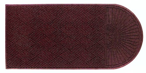(M+A Matting 2248 Maroon PET Polyester WaterHog ECO Grand Premier Entrance Mat, Half Oval One End, 5.9' Length x 4' Width, For Indoor/Outdoor)