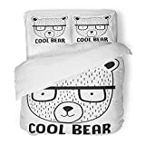 Emvency 3 Piece Duvet Cover Set Brushed Microfiber Fabric Breathable Black Cool Bear Drawn Hand College Face Funny Glasses Little Bedding Set with 2 Pillow Covers Twin Size