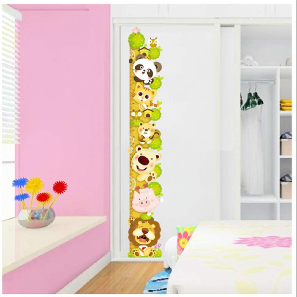 Super Lovely Growth Chart Wall Decor Stickers with Lion Panda Pig Tiger Bear Removbale Peel and Stick Room Decor Wall Decals Cartoon for Kids Boys Girls Nursery Enid Wing XL8003