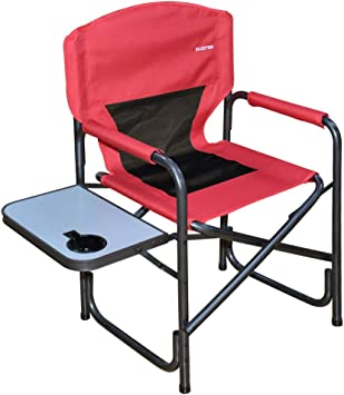 Black Supports to 225 lbs Suzeten Oversized Deck Chair Folding Camping Portable Lightweight Chair with Mesh Back Pocket Side Table for Camping Outdoor Fishing