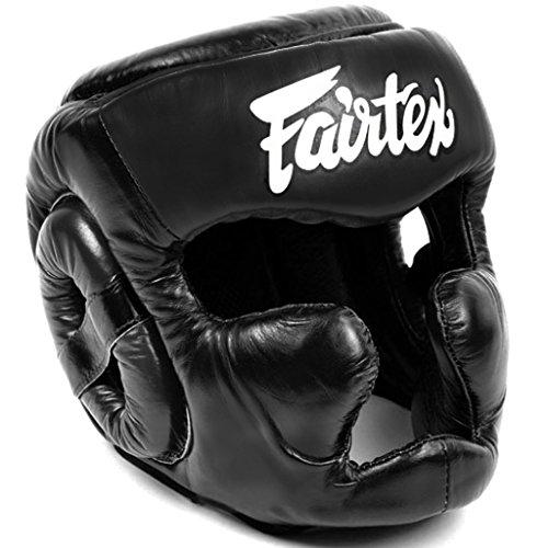 Fairtex HG13 Full Face Head Guard, Lace Up and Cover Equipment Headgear Muai Thai, Head Guard Thai Boxing, Helmet MMA, Headguards Kickboxing, Head Protection Headpiece (Black Cover, Large)
