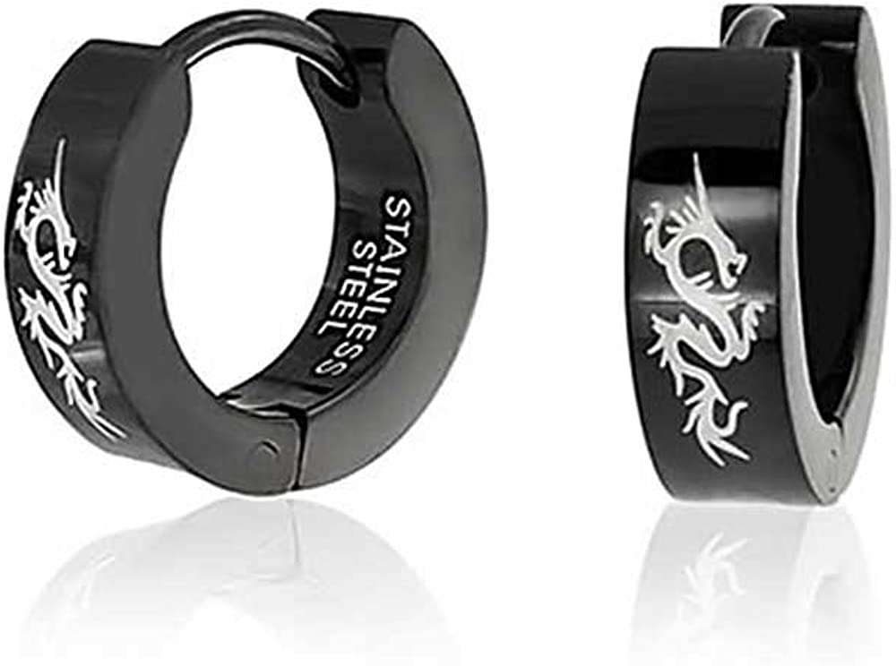 Asian Style Dragon Black Huggie Hoop Kpo Women Laser Etched Black Silver Tone Plated Stainless Steel