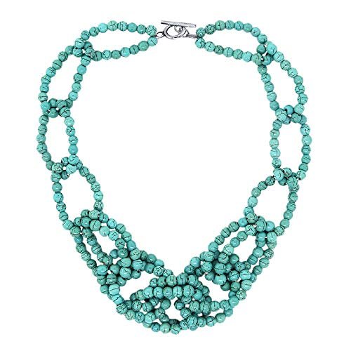 Gem Stone King 18 Inch Beautiful 5mm Simulated Turquoise Howlite Beads Link Necklace with Toggle Hook