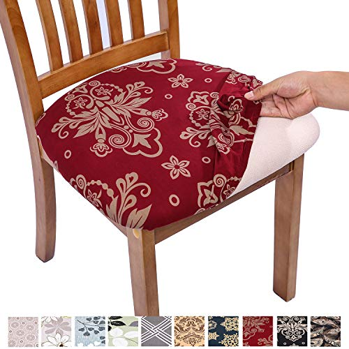 Comqualife Stretch Printed Dining Chair Seat Covers, Removable Washable Anti-Dust Upholstered Chair Seat Cover for Dining Room, Kitchen, Office (Set of 6, Red)