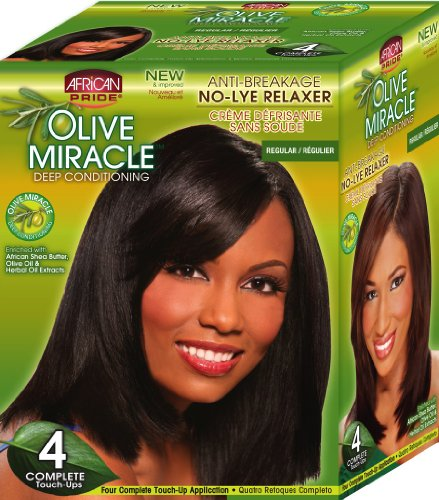 African Pride Relaxer Kit (African Pride Olive Miracle Deep Conditioning No-Lye Relaxer - Regular Kit 4-Count)