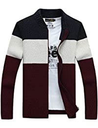 XinDao Mens Casual Slim Fit Mock Neck Zip up Basic Designed Pullover Sweater