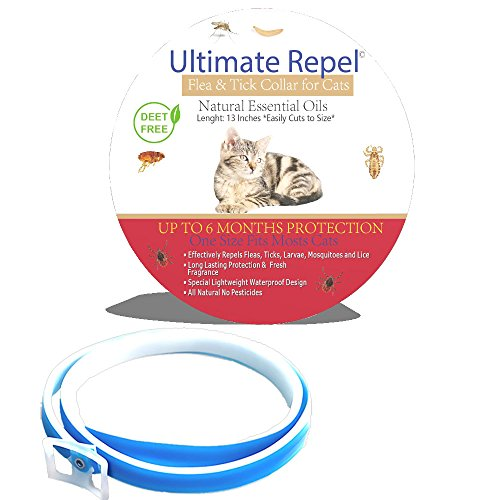 Ultimate Repel Flea and Tick Collar for Cats, Extra Small to Large, Blue, Natural Flea Control for Cats, Long Lasting Flea Collar, Single Pack