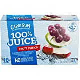 Capri Sun 100% Juice Fruit Punch Ready-to-Drink Soft Drink, 40 Pouches (4 Packs of 10)