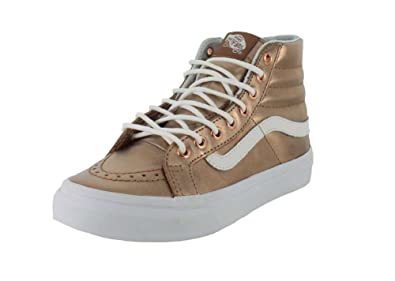 VANS MENS U SK8 HI SLIM SHOES METALLIC ROSE GOLD TRUE WHITE SIZE 5.5
