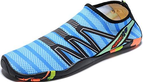 Mens Womens Water Shoes Quick Dry Barefoot for Yoga Swim Diving Surf Aqua Sports Pool Beach (Blue 42)