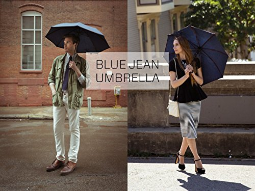 Large Sun & Rain Umbrella - Blue Jean Sunbrella Fabric - Dual Protection from Water and UVA and UVB Rays - By San Francisco Umbrella Co. by San Francisco Umbrella Company (Image #3)