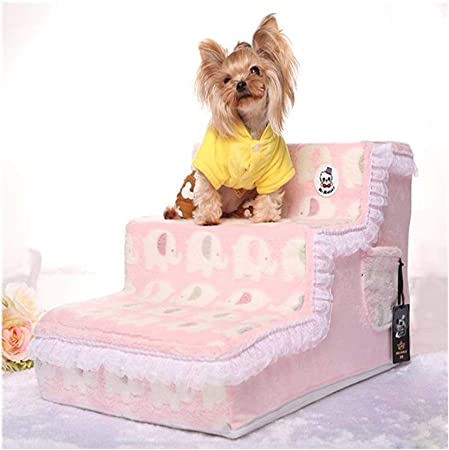 GUOF Escaleras de Perro Sofá pequeño para Perros VIP, tapete para Mascotas, peldaños de Peluche para Perros Escalera Mascota pequeña (Color : A): Amazon.es: Hogar