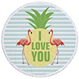 CozzyLife Microfiber Large Round Beach Towel Blanket Yoga Mat Sunscreen Shawl Wrap with Tassel Ultra Soft Super Water Absorbent Multi-Purpose 59 inch(Pineapple Flamingo)