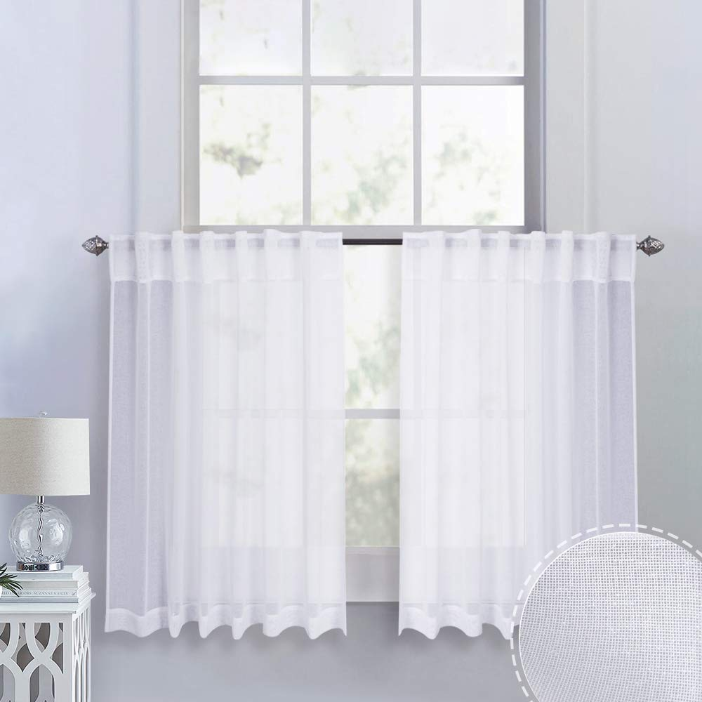 RYB HOME Sheer White Drapes for Half Window/Kitchen, Tiers Curtains for Bathroom, Dreamy Linen Look Textured Weave Semi-Sheer Valance Set, Wide 55 x Long 36, 2 Panels