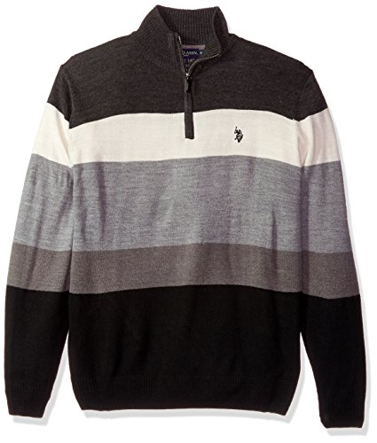 U.S. Polo Assn. Men's Double Striped 1/4 Zip Sweater, Charcoal Heather, Medium by U.S. Polo Assn.