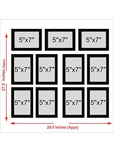 Random Photo Frames (Synthetic Wood, 25 cm x 25 cm x 7.5 cm, Black, Set of 11)