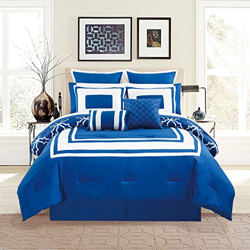 Bed Ensemble Full (KingLinen 12 Piece Bernard Navy Comforter Set with Sheets Full)