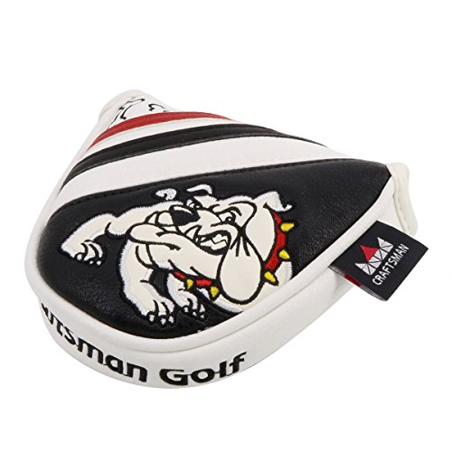 Bulldogs Putter Cover - Craftsman Golf Bulldog Dog Mallet Putter Head Cover Protector Odyssey Scotty Cameron Magnetic Closure (Black White Red)