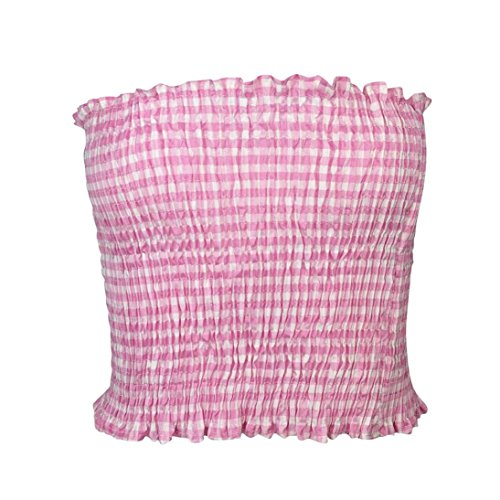 Gallity Hot Sale Women Strapless Plaid Elastic Boob Bandeau Tube Tops Bra Lingerie Breast Wrap (M, Pink)