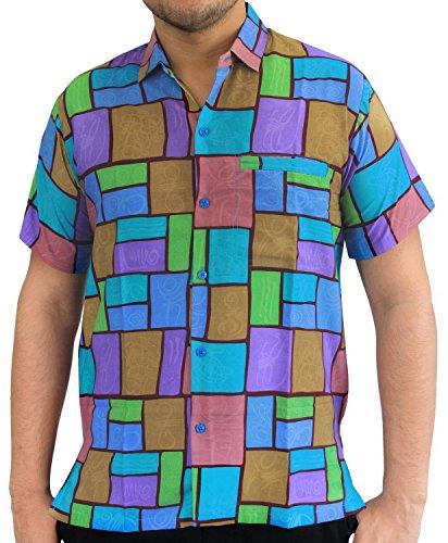 Short Sleeve Front Pocket (La Leela Aloha Hawaiian Tropical BEACH Solid plain Mens Casual Short Sleeves Button Down Tropical Shirts S Blue)