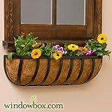 Standard English Garden Iron Hay Rack Window Basket w/ Coco Liner – 42 Inch