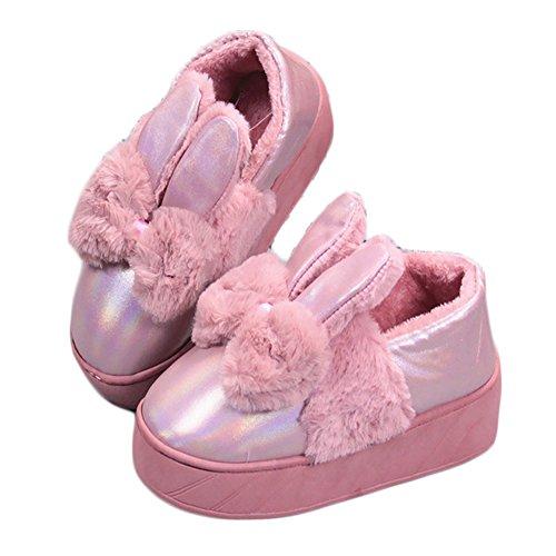 Winter Sole Warm Shoes Slip CYBLING Thick Women House Pink1 Cute Anti Waterproof Rabbit Indoor Slipper U7xdqwx