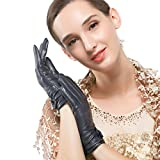 Nappaglo Women's Traditional Lambskin Leather Gloves Cashmere Lining Crossing Bow Winter Driving Leather Gloves (Touchscreen or Non-Touchscreen) (XXL (Palm Girth:8.5''-9''), Dark Navy Blue (Touchscreen))