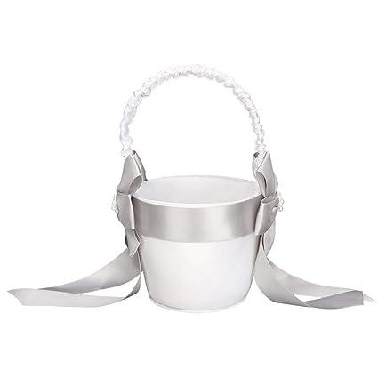 Amazon.com: AUNMAS - Cesta para flores de boda con perlas de ...