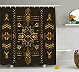 Ambesonne Geometric Shower Curtain, Tribal Hand Drawn Vintage Aztec Background in Vector Illustration, Fabric Bathroom Decor Set with Hooks, 70 Inches, Dark Brown and Mustard