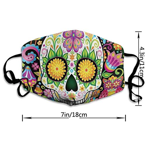 NEWKOW Mouth Mask, Unisex Ear Loop Face Mask, Anti Dust Warm Ski Cycling Safety Fashion Mask Various Use with Adjustable Ear Loops, Colorful Floral Sugar Skull