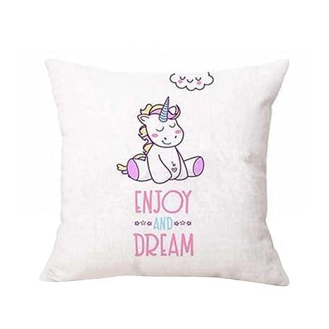 Sunwords Unicornio de dibujos animados Imprimir Throw almohada de la caja de cojín Inicio de la