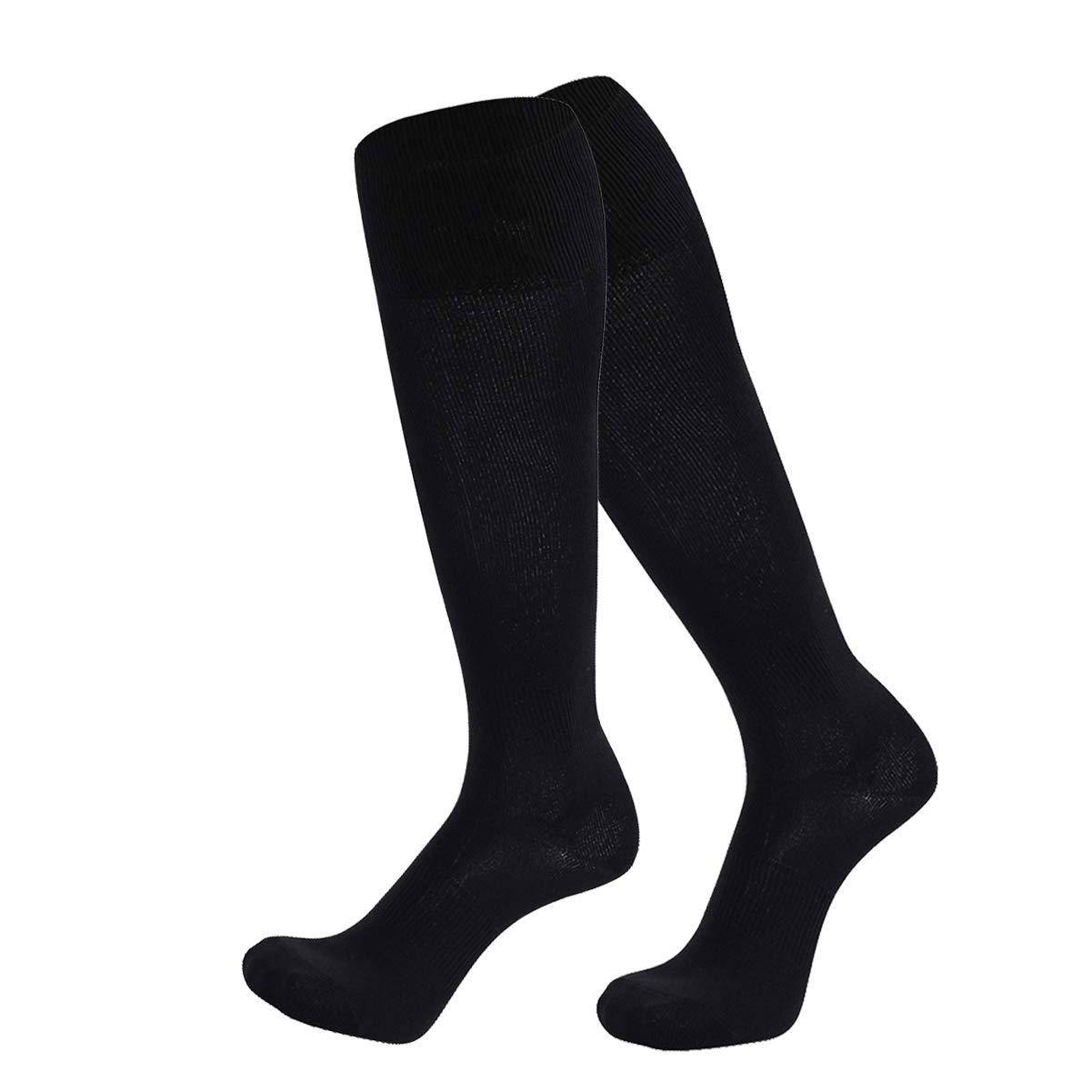 Dsource Unisex Soccer Socks Knee High Solid Baseball Football Sports Team Socks 2 Pairs Black by Dsource