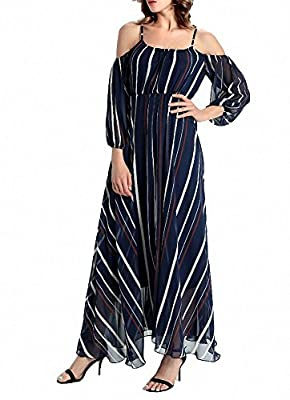 Afibi Women's Off-Shoulder Long Chiffon Casual Dress Maxi Evening Dress