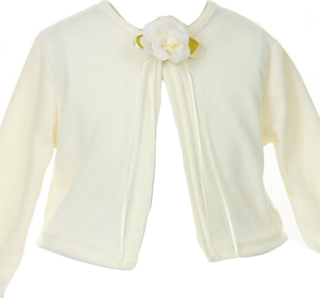 Little Girls Long Sleeve Flower Girl Cardigan Sweater Bolero (13KD3) Ivory 2